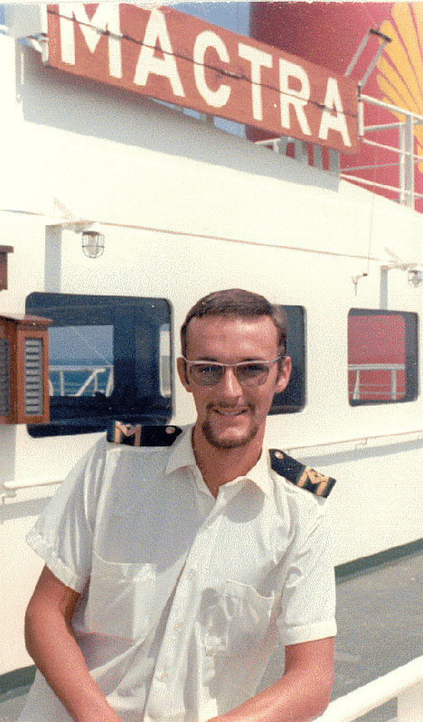 Jim Loughlin on boardShell VLCC Mactra/GYKR.  Jim left in December 1969 and 3 weeks later Mactra exploded whilst tank cleaning.  After the BOT enquiry many safety changes were made in respect of tank cleaning on VLCC's.