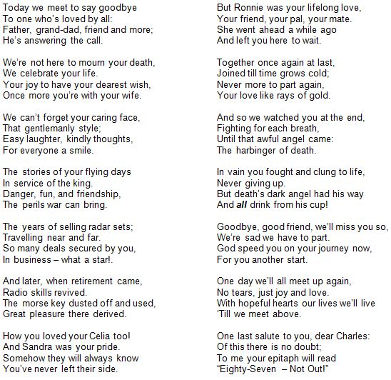 A tribute to Charles Shelton composed by Dave Ellis. Read at Charles' funeral on 9th May 2013.
